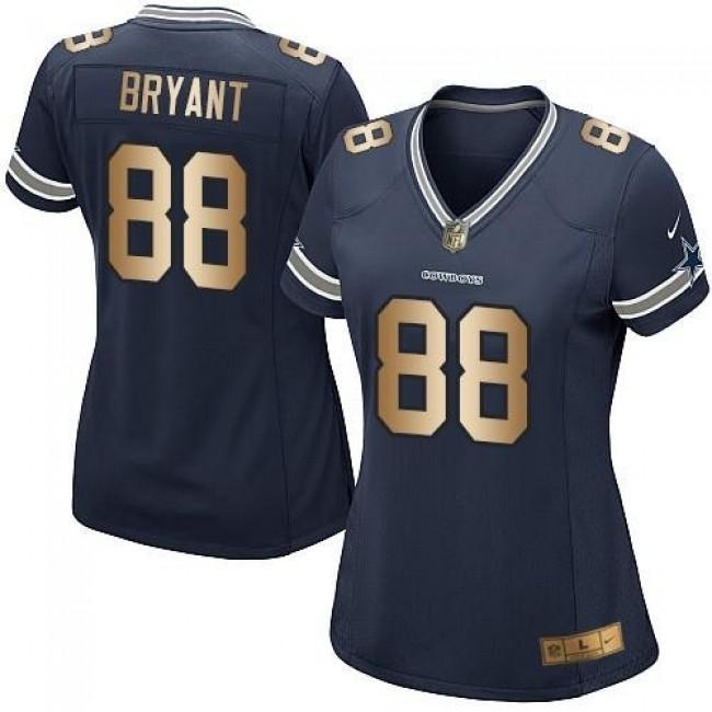 Women's Cowboys #88 Dez Bryant Navy Blue Team Color Stitched NFL Elite Gold Jersey