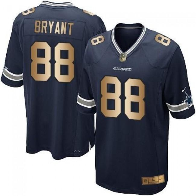 Dallas Cowboys #88 Dez Bryant Navy Blue Team Color Youth Stitched NFL Elite Gold Jersey