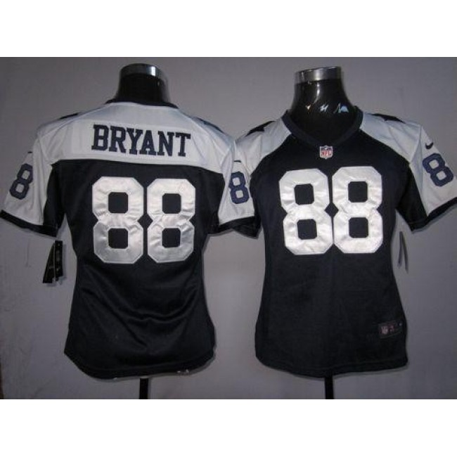 Women's Cowboys #88 Dez Bryant Navy Blue Thanksgiving Throwback Stitched NFL Elite Jersey