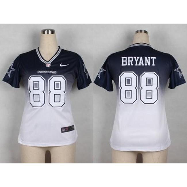 Women's Cowboys #88 Dez Bryant Navy Blue White Stitched NFL Elite Fadeaway Jersey