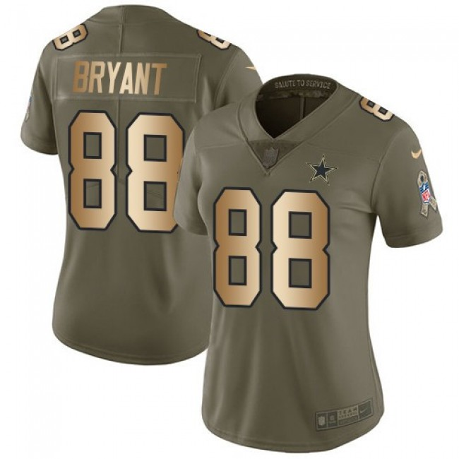 Women's Cowboys #88 Dez Bryant Olive Gold Stitched NFL Limited 2017 Salute to Service Jersey