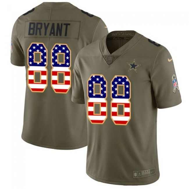 Dallas Cowboys #88 Dez Bryant Olive-USA Flag Youth Stitched NFL Limited 2017 Salute to Service Jersey