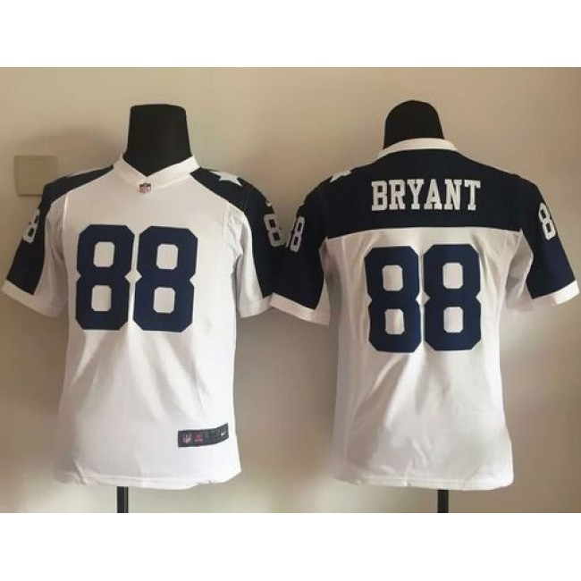 Dallas Cowboys #88 Dez Bryant White Thanksgiving Youth Throwback Stitched NFL Elite Jersey