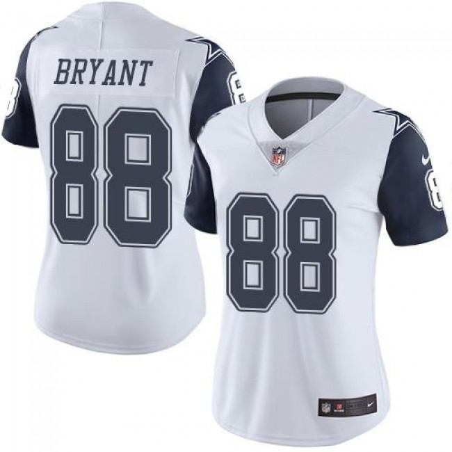 Women's Cowboys #88 Dez Bryant White Stitched NFL Limited Rush Jersey
