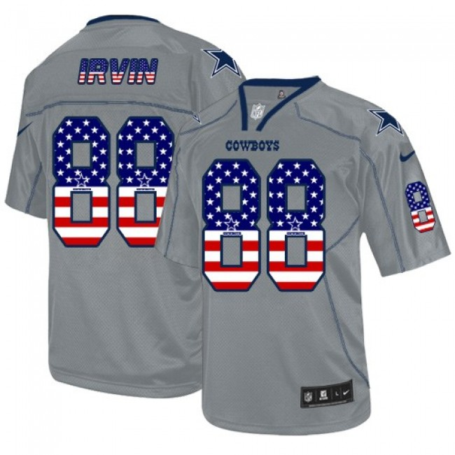 Nike Cowboys #88 Michael Irvin Grey Men's Stitched NFL Elite USA Flag Fashion Jersey