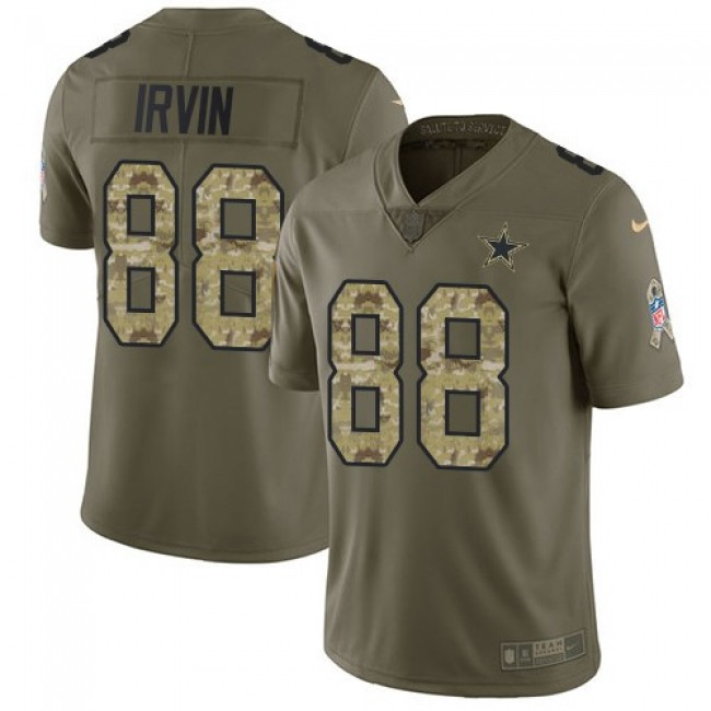 Nike Cowboys #88 Michael Irvin Olive/Camo Men's Stitched NFL Limited 2017 Salute To Service Jersey