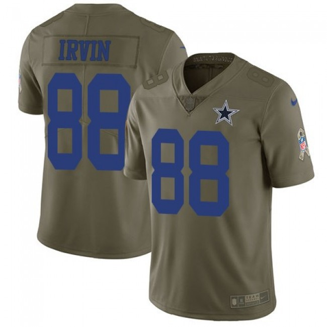 Nike Cowboys #88 Michael Irvin Olive Men's Stitched NFL Limited 2017 Salute To Service Jersey