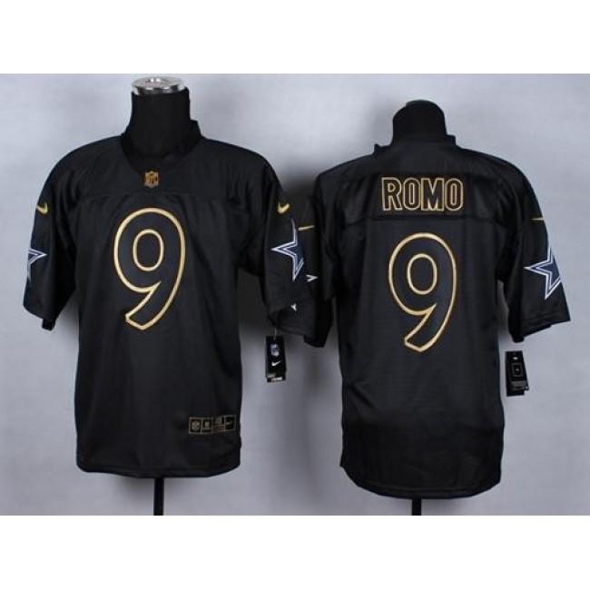 Nike Cowboys #9 Tony Romo Black Men's Stitched NFL Elite Gold No. Fashion Jersey