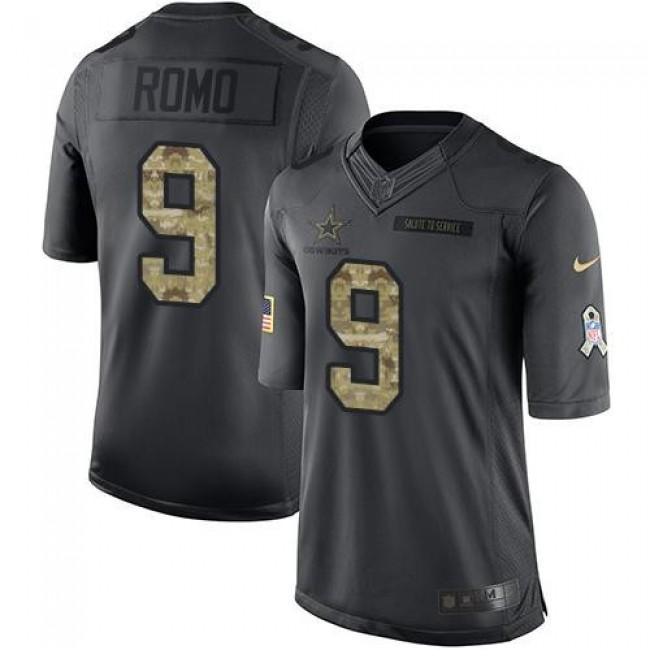 Nike Cowboys #9 Tony Romo Black Men's Stitched NFL Limited 2016 Salute To Service Jersey