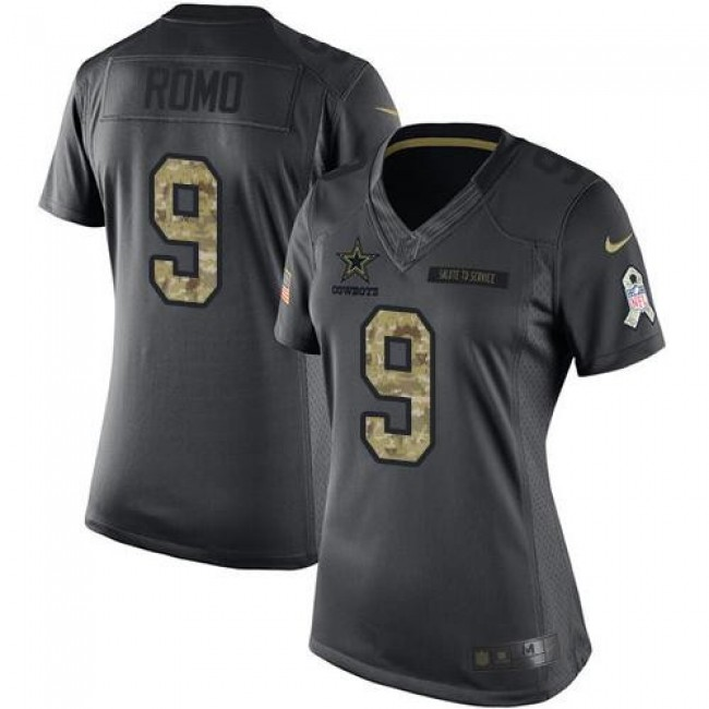 Women's Cowboys #9 Tony Romo Black Stitched NFL Limited 2016 Salute to Service Jersey