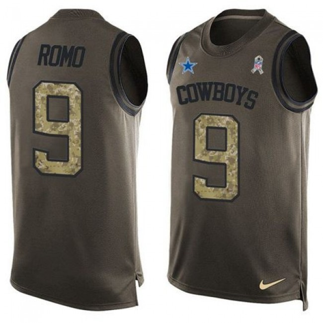 Nike Cowboys #9 Tony Romo Green Men's Stitched NFL Limited Salute To Service Tank Top Jersey
