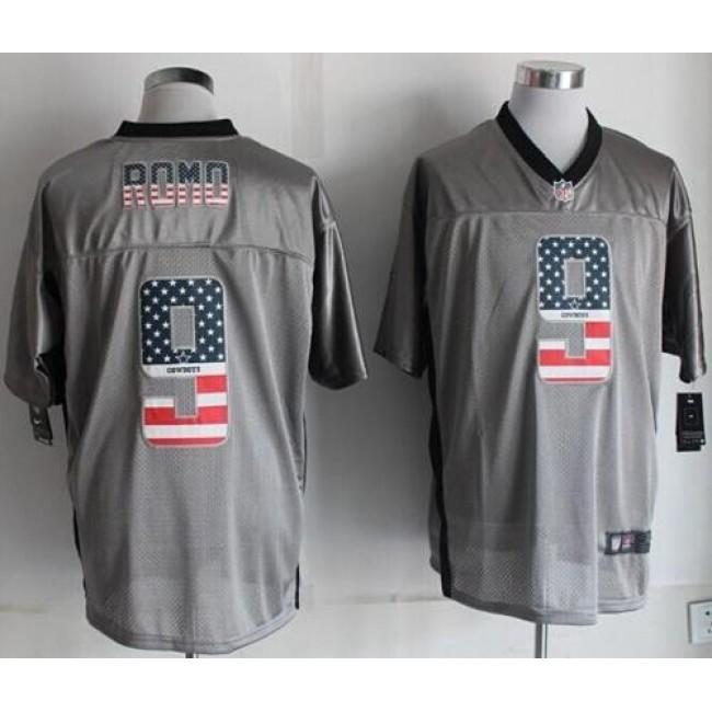 Nike Cowboys #9 Tony Romo Grey Men's Stitched NFL Elite USA Flag Fashion Jersey