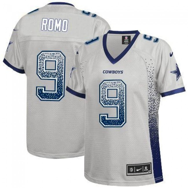 Women's Cowboys #9 Tony Romo Grey Stitched NFL Elite Drift Jersey