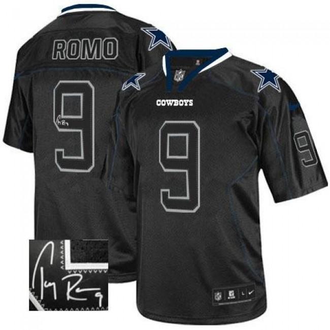 Nike Cowboys #9 Tony Romo Lights Out Black Men's Stitched NFL Elite Autographed Jersey