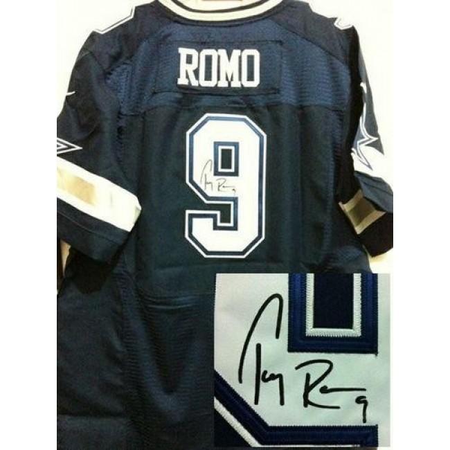 Nike Cowboys #9 Tony Romo Navy Blue Team Color Men's Stitched NFL Elite Autographed Jersey