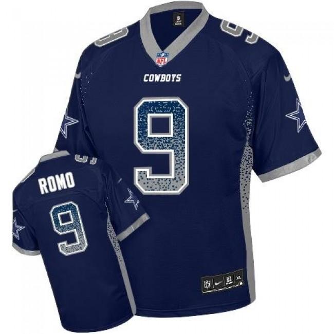 Nike Cowboys #9 Tony Romo Navy Blue Team Color Men's Stitched NFL Elite Drift Fashion Jersey
