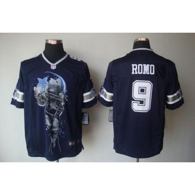 Nike Cowboys #9 Tony Romo Navy Blue Team Color Men's Stitched NFL Helmet Tri-Blend Limited Jersey