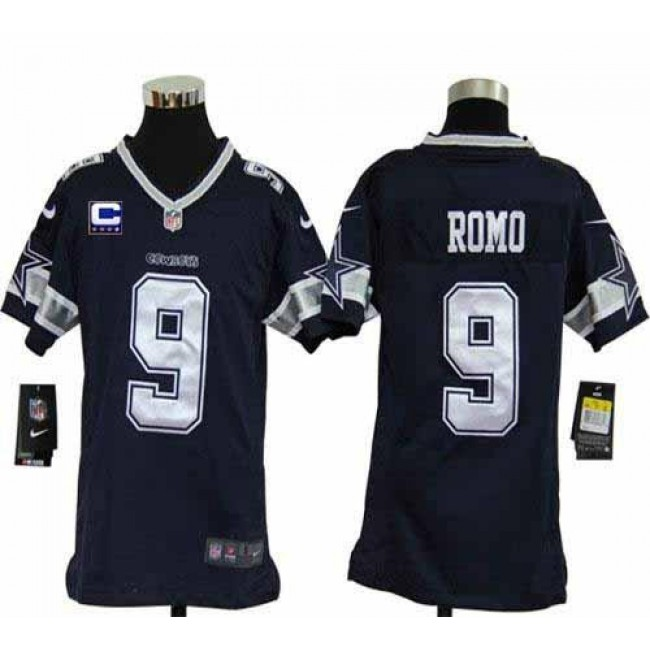 Dallas Cowboys #9 Tony Romo Navy Blue Team Color With C Patch Youth Stitched NFL Elite Jersey