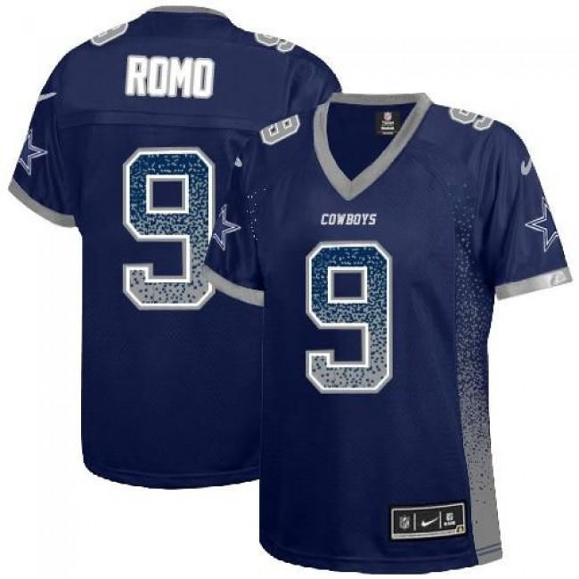 Women's Cowboys #9 Tony Romo Navy Blue Team Color Stitched NFL Elite Drift Jersey