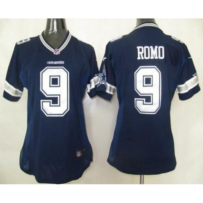 Women's Cowboys #9 Tony Romo Navy Blue Team Color Stitched NFL Elite Jersey