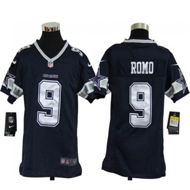 Dallas Cowboys #9 Tony Romo Navy Blue Team Color Youth Stitched NFL Elite Jersey