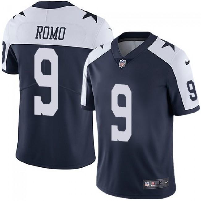 Nike Cowboys #9 Tony Romo Navy Blue Thanksgiving Men's Stitched NFL Vapor Untouchable Limited Throwback Jersey