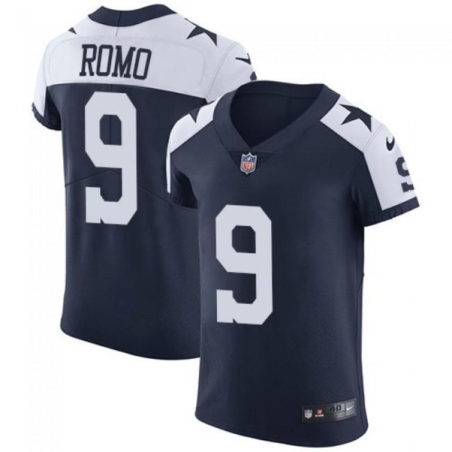 Nike Cowboys #9 Tony Romo Navy Blue Thanksgiving Men's Stitched NFL Vapor Untouchable Throwback Elite Jersey