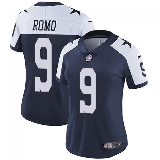 Women's Cowboys #9 Tony Romo Navy Blue Thanksgiving Stitched NFL Vapor Untouchable Limited Throwback Jersey