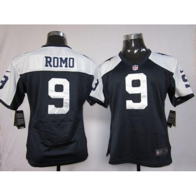 Women's Cowboys #9 Tony Romo Navy Blue Thanksgiving Throwback Stitched NFL Elite Jersey