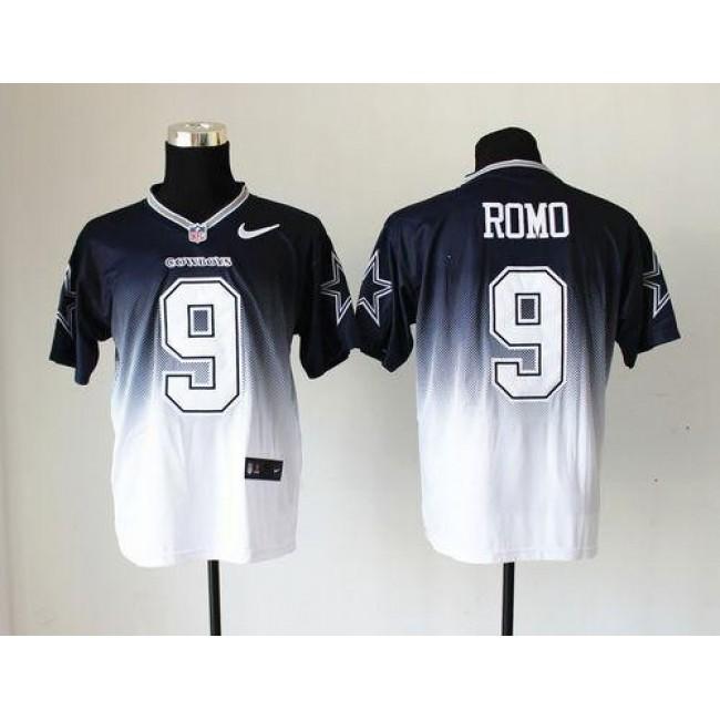 Nike Cowboys #9 Tony Romo Navy Blue/White Men's Stitched NFL Elite Fadeaway Fashion Jersey