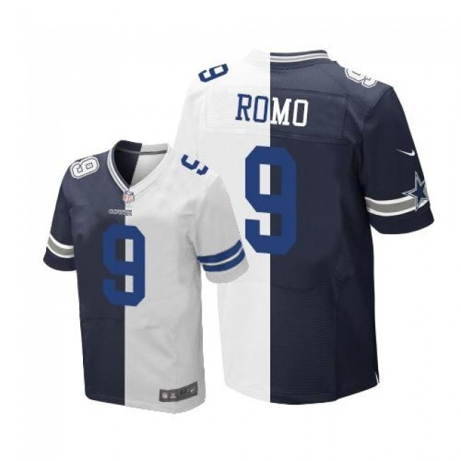Nike Cowboys #9 Tony Romo Navy Blue/White Men's Stitched NFL Elite Split Jersey