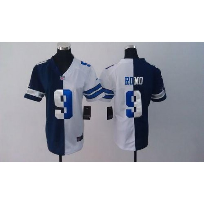 Women's Cowboys #9 Tony Romo Navy Blue White Stitched NFL Elite Split Jersey