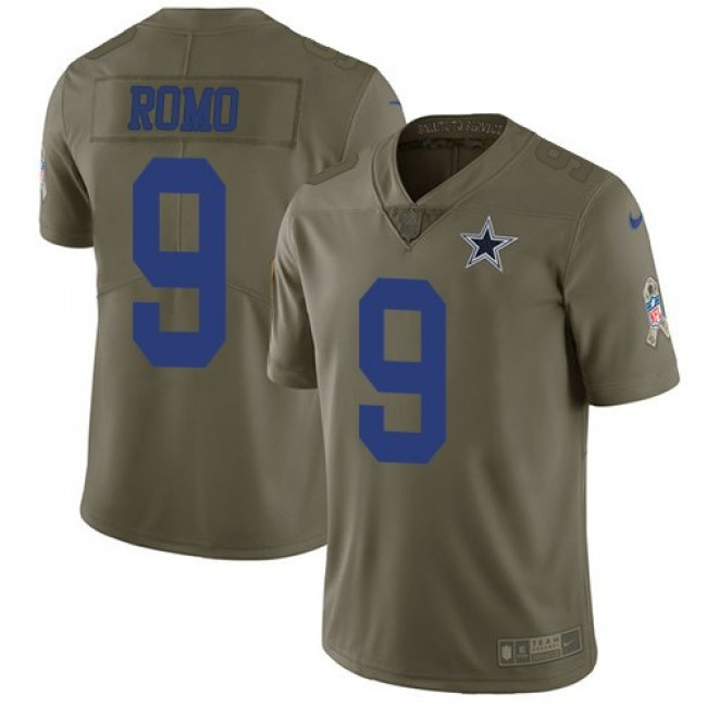 Nike Cowboys #9 Tony Romo Olive Men's Stitched NFL Limited 2017 Salute To Service Jersey
