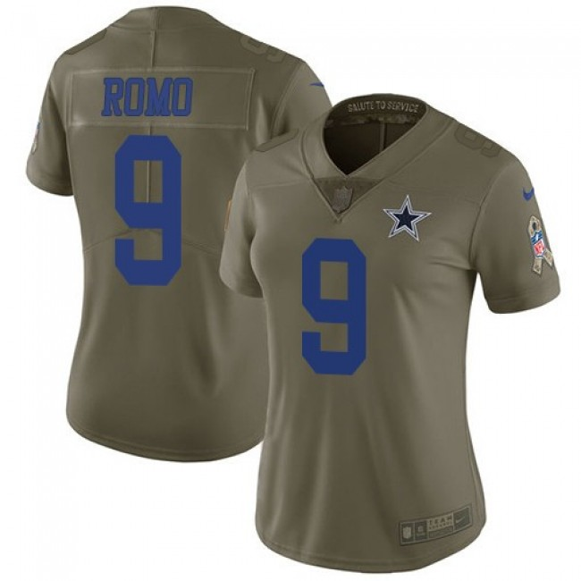 Women's Cowboys #9 Tony Romo Olive Stitched NFL Limited 2017 Salute to Service Jersey