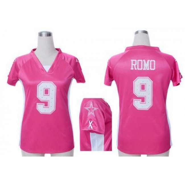 Women's Cowboys #9 Tony Romo Pink Draft Him Name Number Top Stitched NFL Elite Jersey