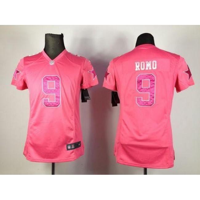 Women's Cowboys #9 Tony Romo Pink Sweetheart Stitched NFL Elite Jersey