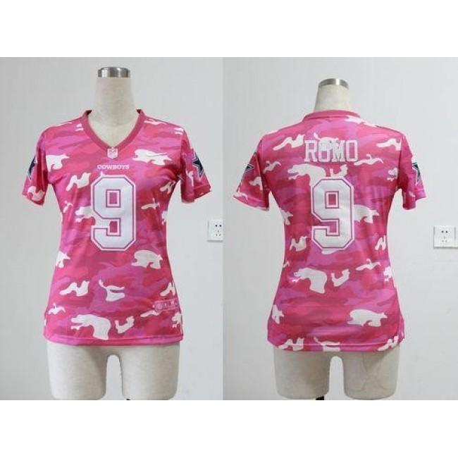 Women's Cowboys #9 Tony Romo Pink Stitched NFL Elite Camo Jersey