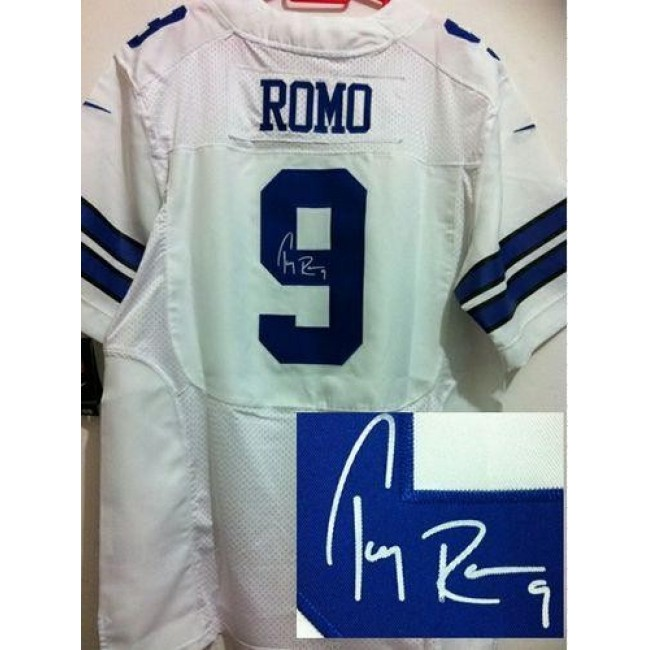Nike Cowboys #9 Tony Romo White Men's Stitched NFL Elite Autographed Jersey