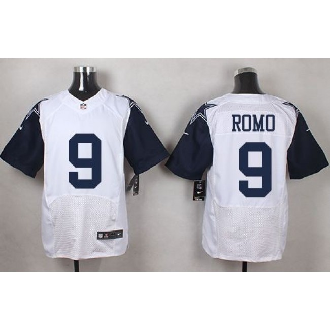 Nike Cowboys #9 Tony Romo White Men's Stitched NFL Elite Rush Jersey