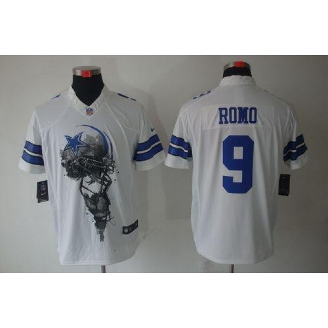 Nike Cowboys #9 Tony Romo White Men's Stitched NFL Helmet Tri-Blend Limited Jersey