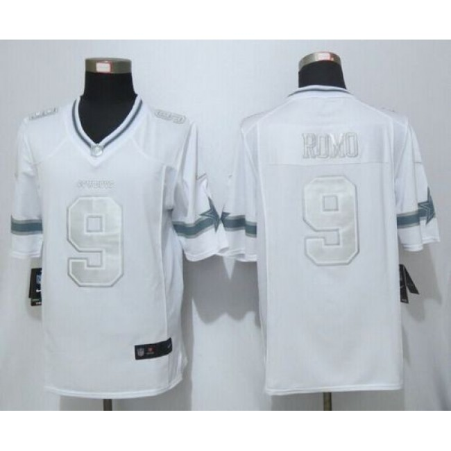 Nike Cowboys #9 Tony Romo White Men's Stitched NFL Limited Platinum Jersey