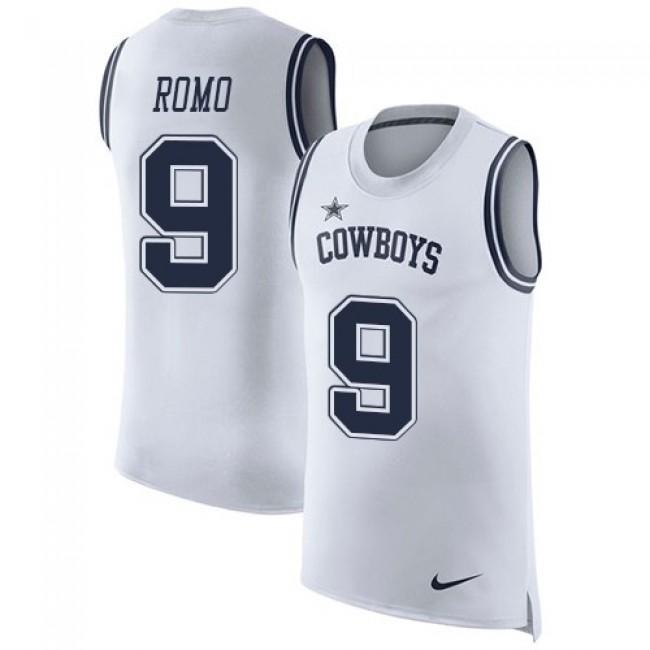 Nike Cowboys #9 Tony Romo White Men's Stitched NFL Limited Rush Tank Top Jersey