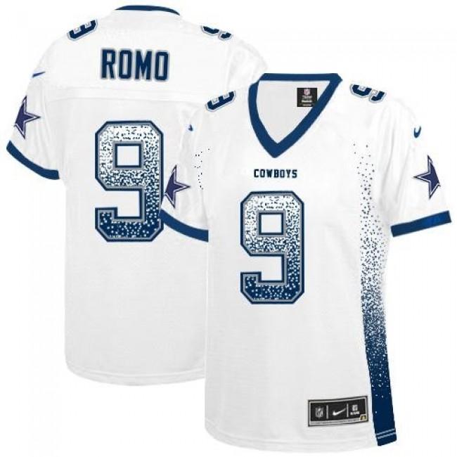 Women's Cowboys #9 Tony Romo White Stitched NFL Elite Drift Jersey