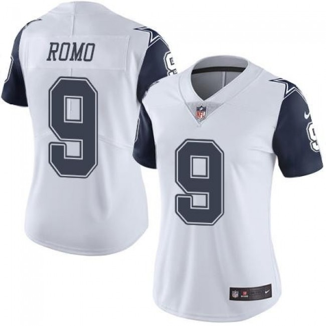 Women's Cowboys #9 Tony Romo White Stitched NFL Limited Rush Jersey