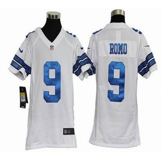 Dallas Cowboys #9 Tony Romo White Youth Stitched NFL Elite Jersey