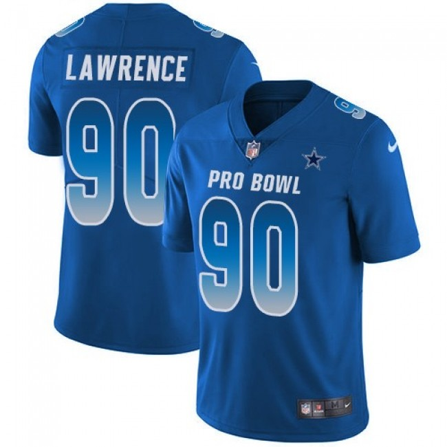 Dallas Cowboys #90 DeMarcus Lawrence Royal Youth Stitched NFL Limited NFC 2018 Pro Bowl Jersey