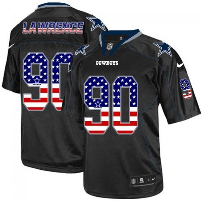 Nike Cowboys #90 Demarcus Lawrence Black Men's Stitched NFL Elite USA Flag Fashion Jersey