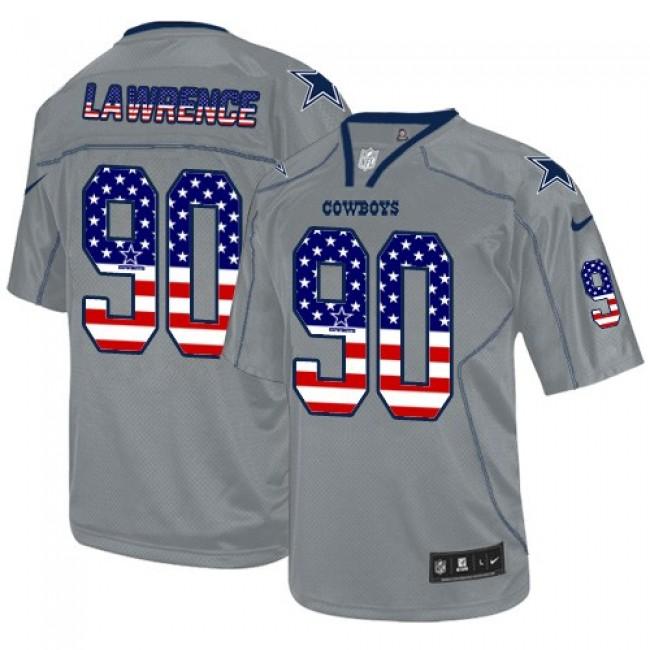 Nike Cowboys #90 Demarcus Lawrence Grey Men's Stitched NFL Elite USA Flag Fashion Jersey