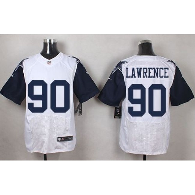 Nike Cowboys #90 Demarcus Lawrence White Men's Stitched NFL Elite Rush Jersey