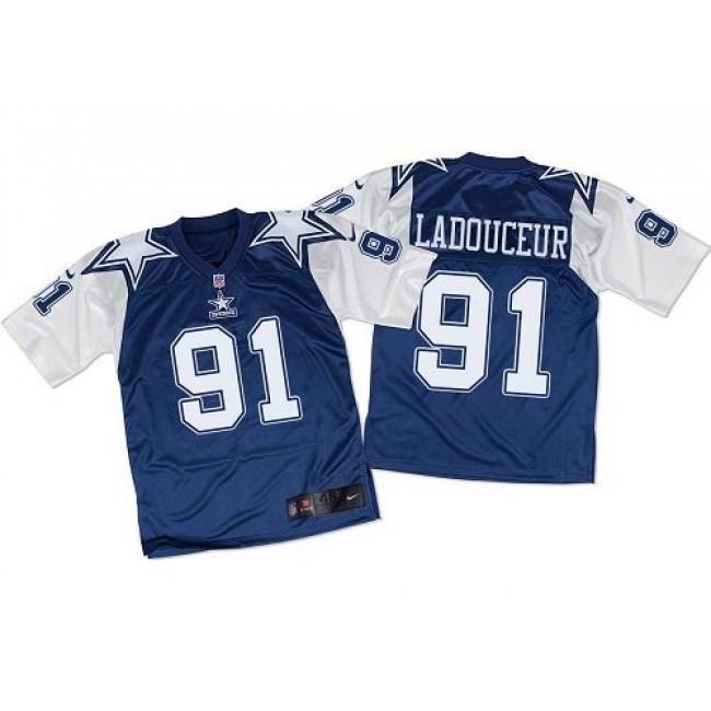 Nike Cowboys #91 L. P. Ladouceur Navy Blue/White Throwback Men's Stitched NFL Elite Jersey
